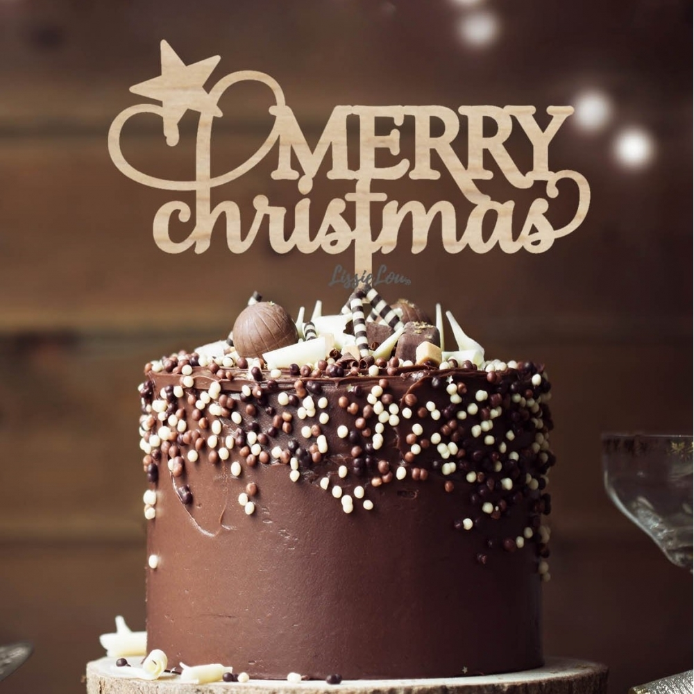 Merry Christmas Star Cake Toppers Christmas Cake Topper Decorarions