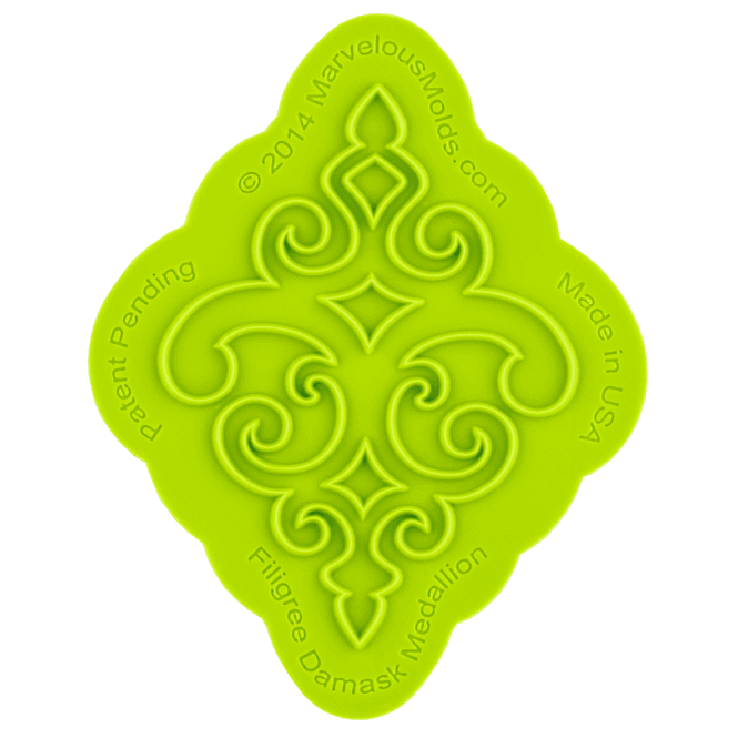 Marvelous Molds Filigree Damask Medallion Silicone Onlay