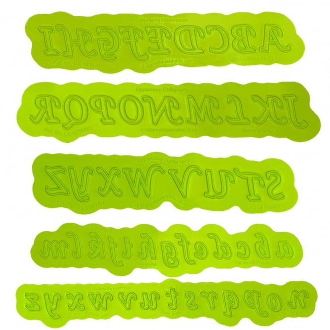 Marvelous Molds Uppercase And Lowercase Alphabet Calligraphy Flexabet Onlay