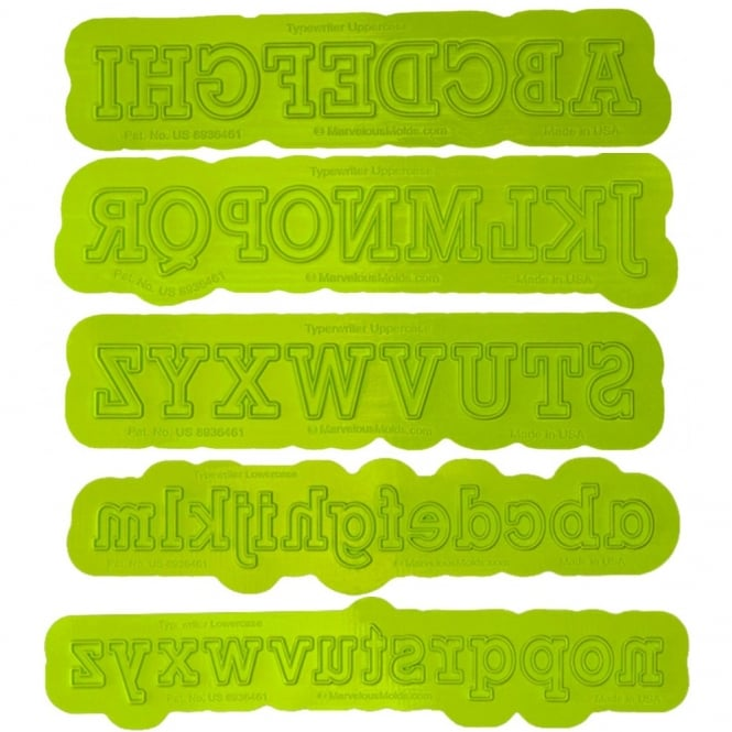 Marvelous Molds Uppercase And Lowercase Alphabet Typewriter Flexabet Onlay