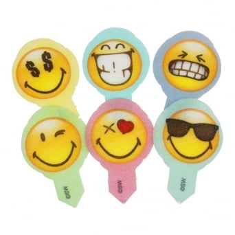 Emoji Edible Cupcake Picks - Tub Of 600
