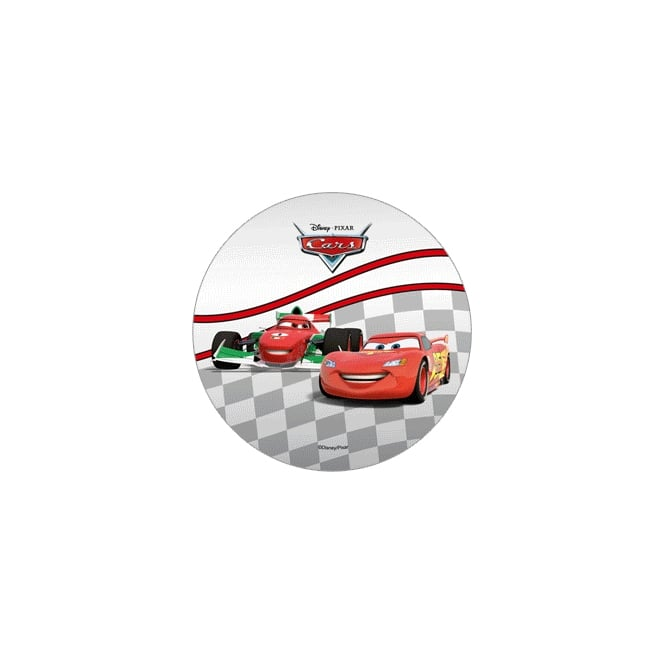 Modecor  Disney Cars Sugarpaste Disc Cake Topper With Lightning McQueen and Francesco Bernoulli On Starting Track