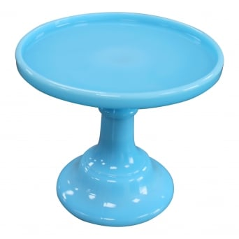 6 Inch Glazed Milk Glass Cake Stand - Robin's Egg Blue