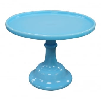 9 Inch Glazed Milk Glass Cake Stand - Robin's Egg Blue