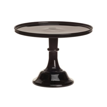 Black Raspberry - 12 Inch Glazed Milk Glass Cake Stand