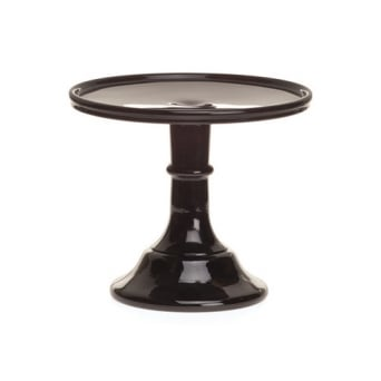 Black Raspberry - 6 Inch Glazed Milk Glass Cake Stand