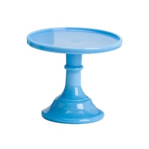 Bonnie Blue - 6 Inch Glazed Milk Glass Cake Stand