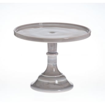 Marble - 9 Inch Glazed Milk Glass Cake Stand