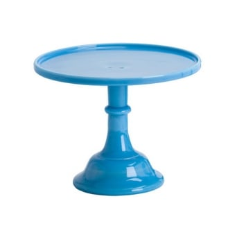 9 Inch Glazed Milk Glass Cake Stand - Bonnie Blue