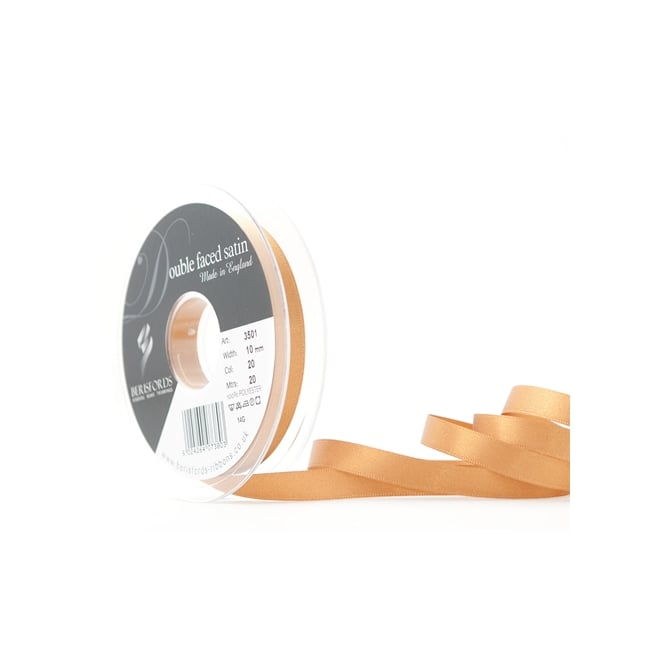 Berisfords Old Gold Satin Ribbon 10mm x 20 Metres