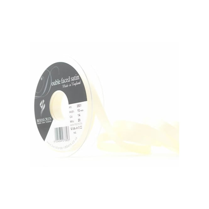Berisfords Pale Lemon Yellow Satin Ribbon 10mm x 20 Metres