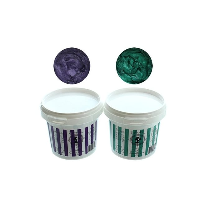 Cake Lace Pearlised Kadberry Purple And Pearlised Emerald Green 200g - Jewel Kit