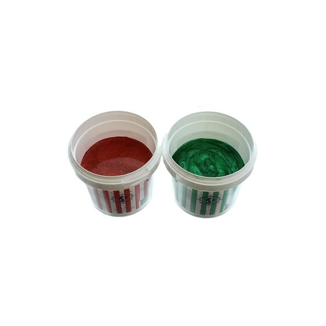 Cake Lace Pearlised Leaf Green And Pearlised Firecracker Red 200g - Festive Kit