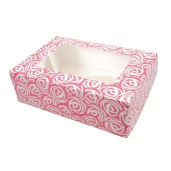 Pink Roses Holds 6 Cupcake And Muffin Box