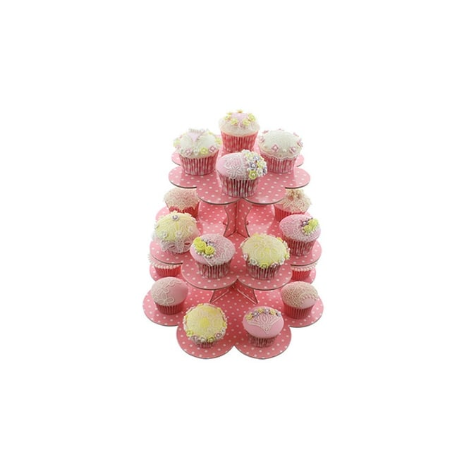 Cake Lace Pink With White Spots - Three Tier Cupcake Stand