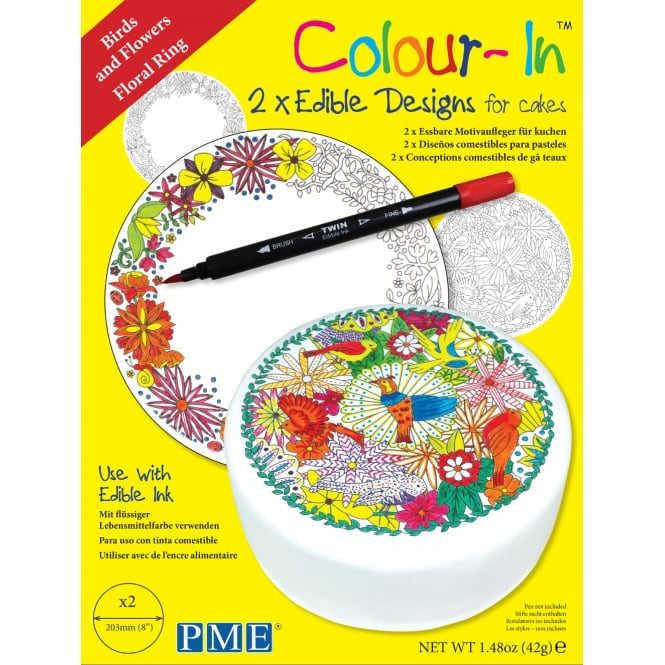 PME Birds And Floral Ring 8 Inch Colour-In Topper Pack Of 2