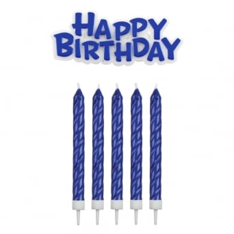 Blue Happy Birthday Candles With Plaque Set