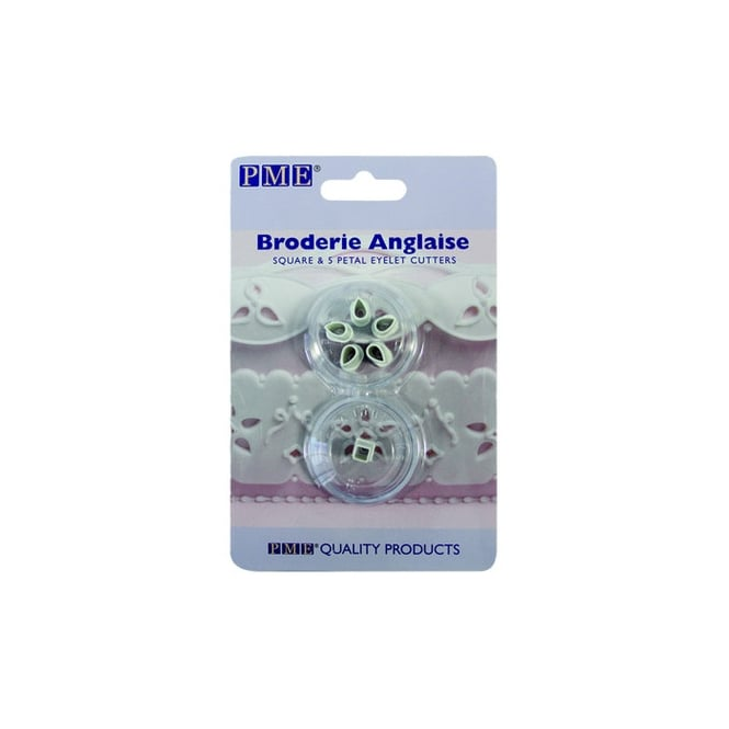 PME Broderie Anglaise Square And 5 Petal Eyelet Cutter Set - 2 Pieces