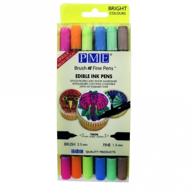 PME Brush N Fine Bright Edible Pen Pack Of 6