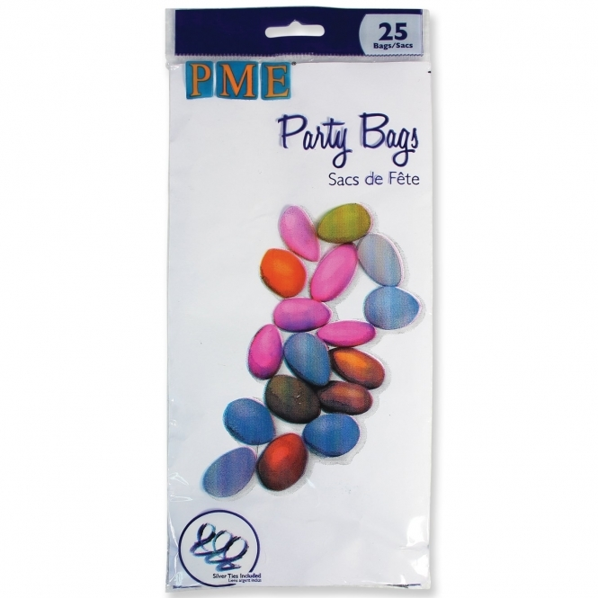 PME Clear Party Bags With Silver Twist Ties - Pack Of 25