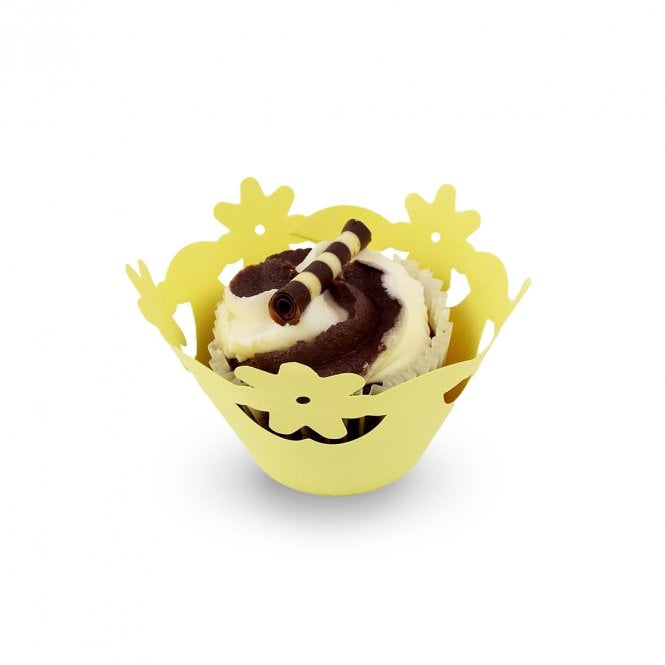 PME Yellow - Floral Cupcake Wrapper x 12