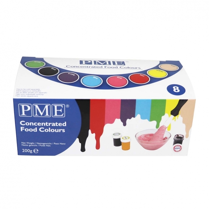 PME Gel Paste Colouring - Pack of 8