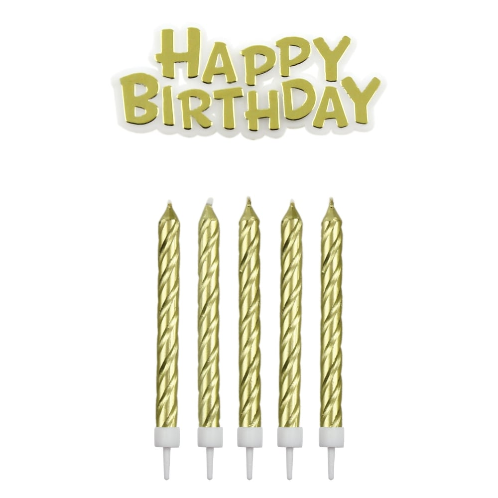 PME Gold Happy Birthday Candles With Plaque Set