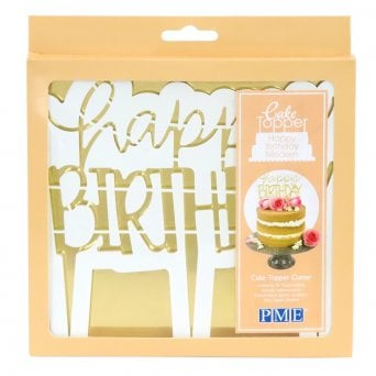 Happy Birthday Modern Cake Topper Cutter
