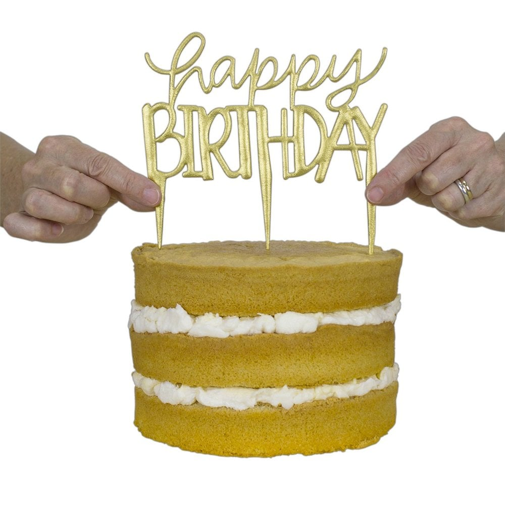 Happy Birthday Modern Cake Topper Cutter Birthday Cake Topper