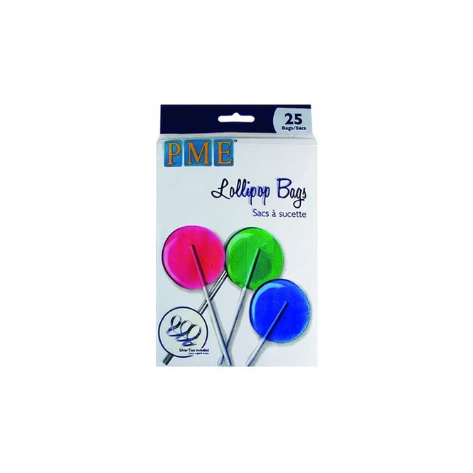 PME Lollipop Bags Pack Of 25 With Silver Ties