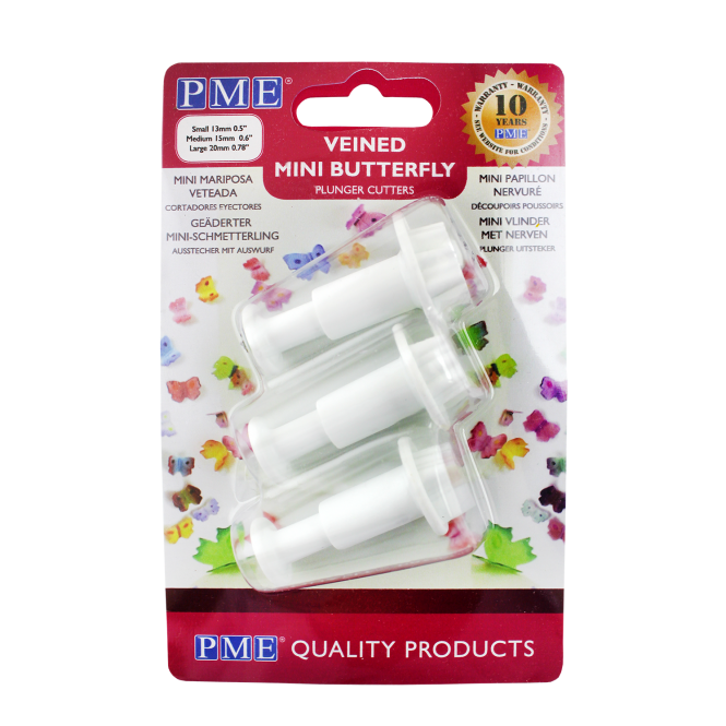 PME Mini Veined Butterfly Plunger Cutter Set Of 3
