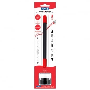 Red Brush N Fine Edible Ink Pen By PME