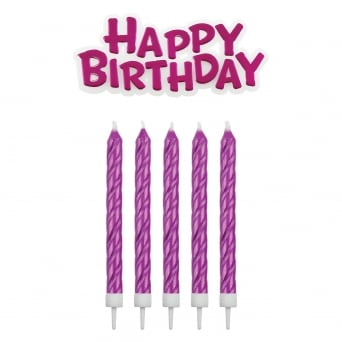 Pink Happy Birthday Candles With Plaque Set