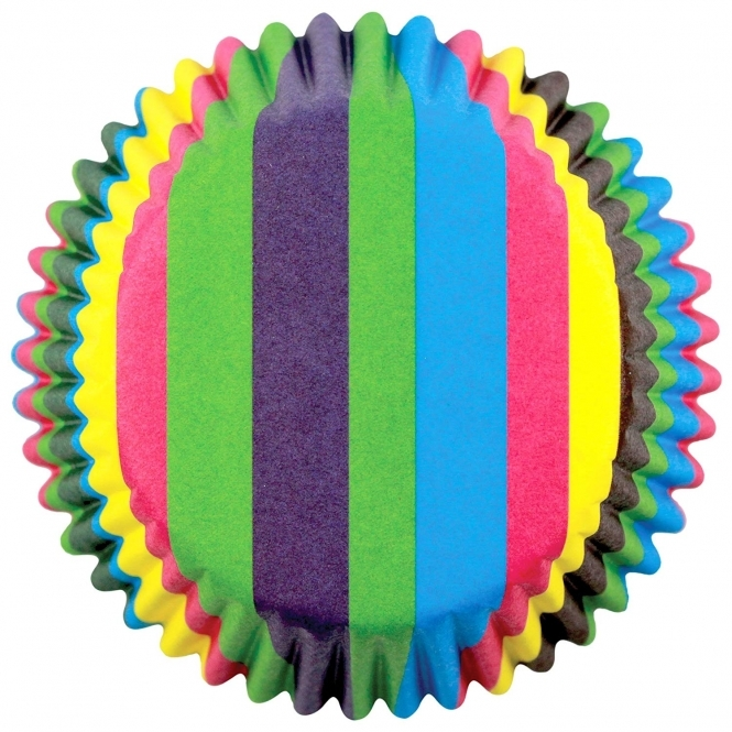 PME Rainbow Stripes - Standard Baking Cases x 60 Cups