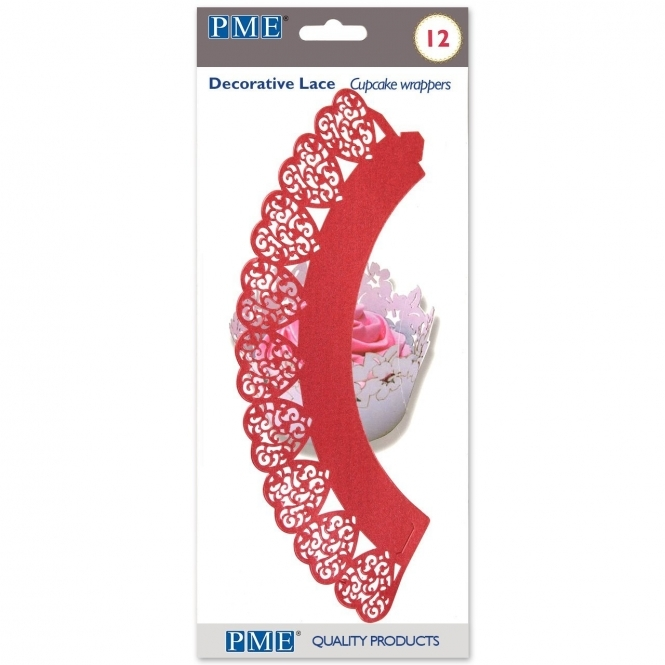 PME Red - Heart Wrappers x 12