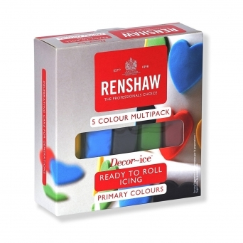 Primary Colours – Multipack Of 5 x 100g Renshaw Ready To Roll Regal Icing