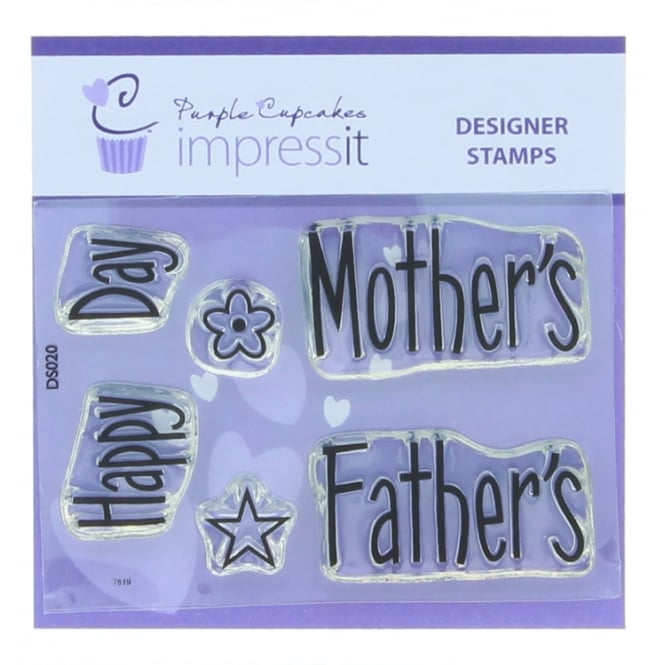 Purple Cupcakes ImpressIt Happy Mother's - Father's Day Stamp