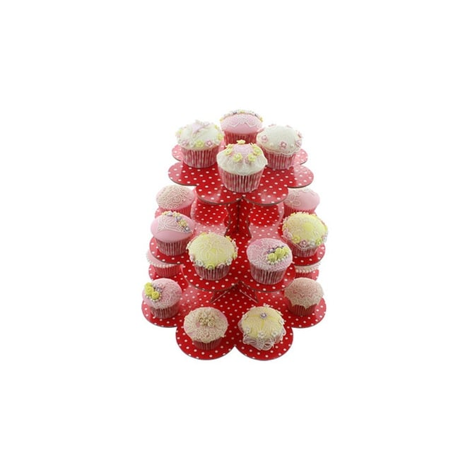 Cake Lace Red With White Spots - Three Tier Cupcake Stand
