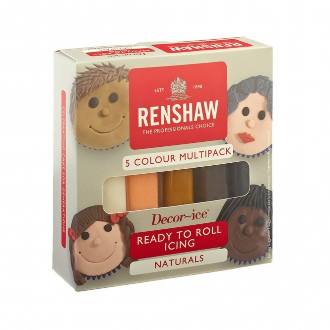 Renshaw Natural Colour - Multipack Of 5 x 100g Ready To Roll Regal Icing