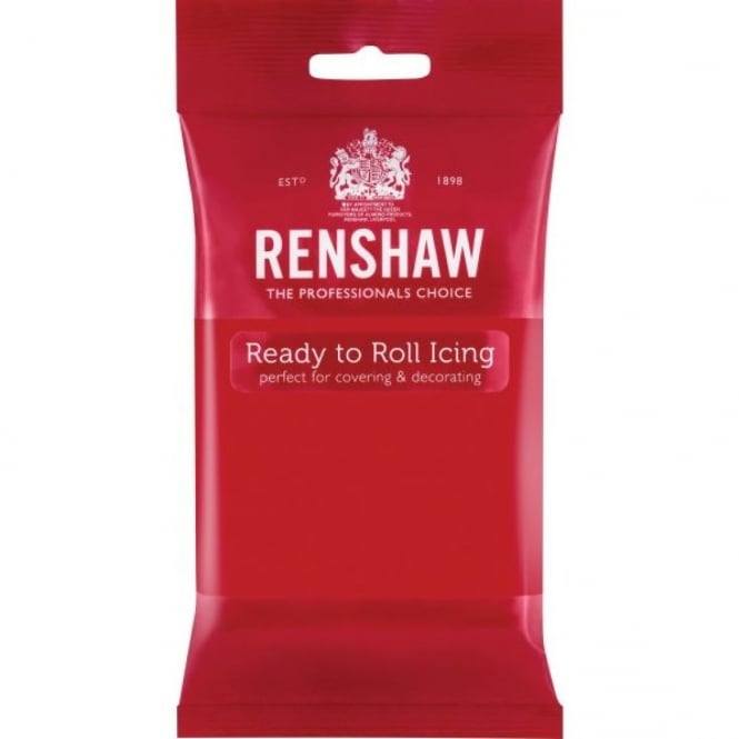 Renshaw Poppy Red - Regal Ice Sugarpaste Ready To Roll Fondant 500g