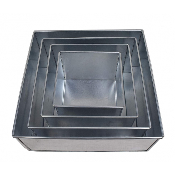 Set Of 4 Tier Square Cake Baking Tins - 4 Inches Deep