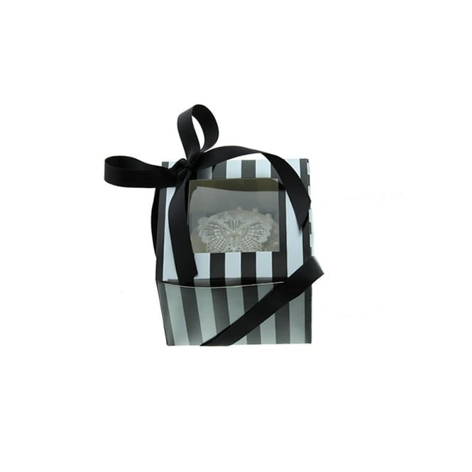Cake Lace Single Luxury Satin Finish - Silver And Black Stripe Cupcake Box