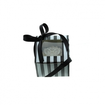 Single Luxury Satin Finish - Silver And Black Stripe Cake Lace Cupcake Box
