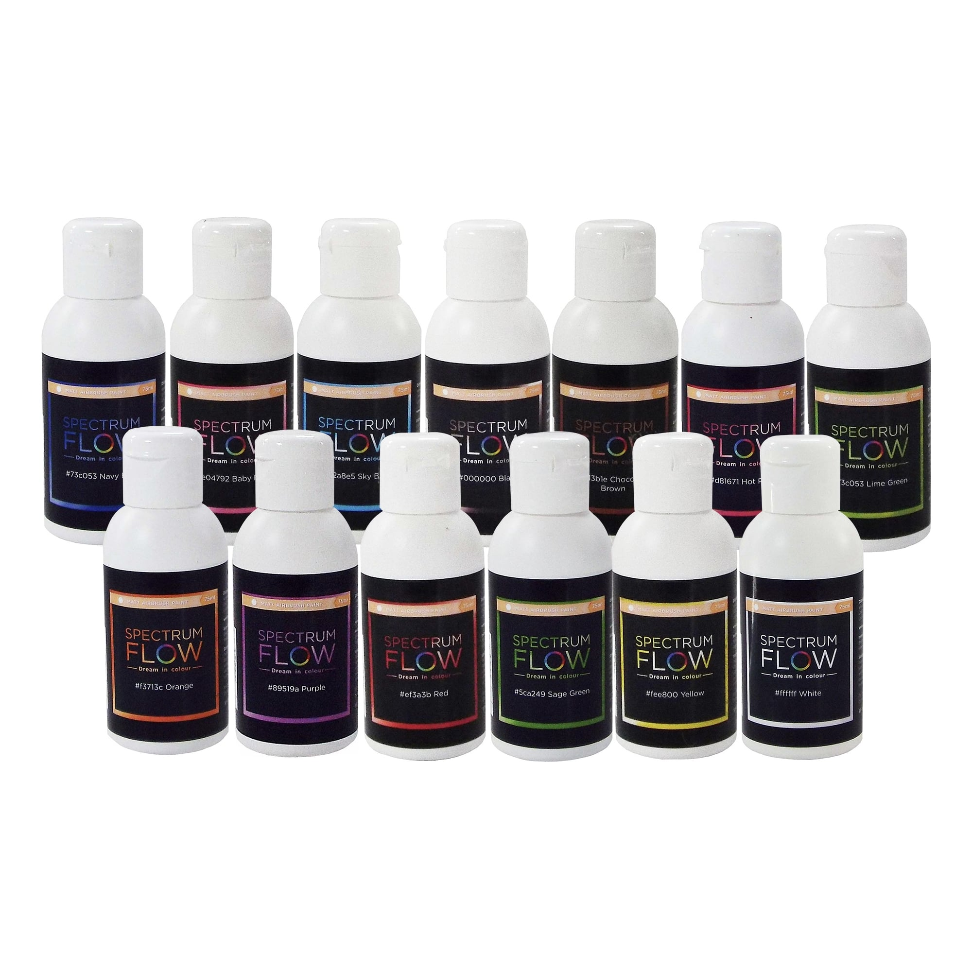 Spectrum Flow Set Of 13 - Matt Airbrush Paint For Chocolate And Sugarpaste  75ml