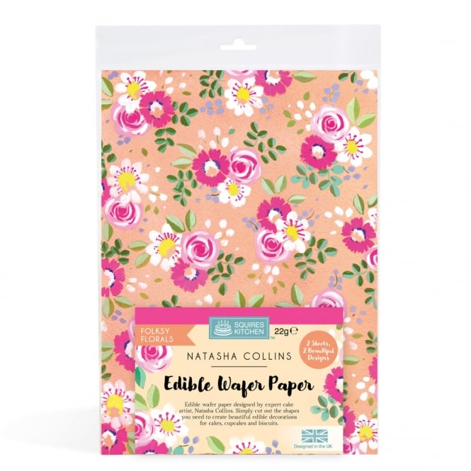 Squires Kitchen  Folksy Florals Edible Wafer Paper Set Of 2 Natasha Collins