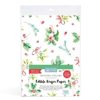 Holly And Baubles - Edible Wafer Paper Set Of 2 Natasha Collins
