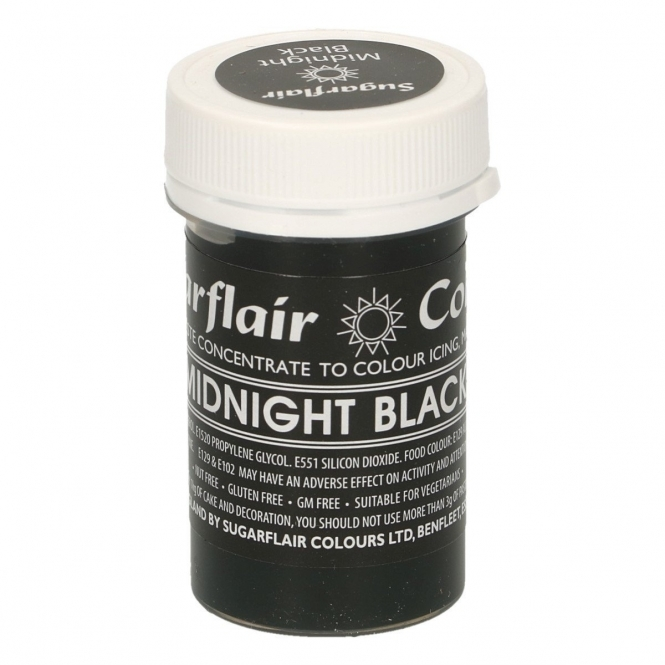 Sugarflair Midnight Black - Pastel Paste Concentrate Colouring 25g