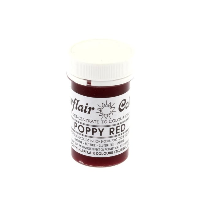Sugarflair Poppy Red - Tartranil Paste Concentrate Colouring 25g