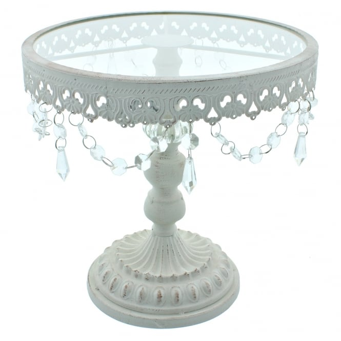 The Cake Decorating Co. 11 Inch White Shabby Chic Cake Stand