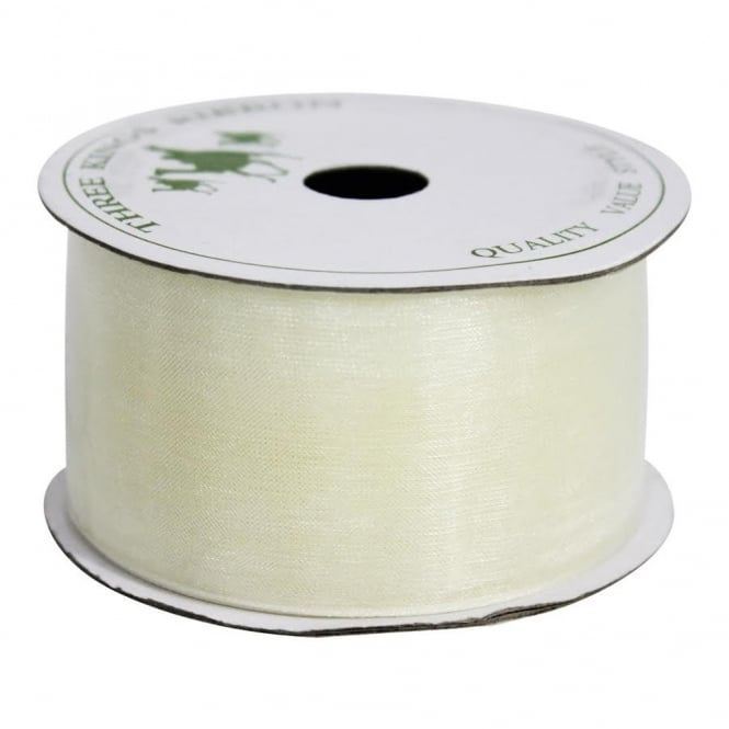 The Cake Decorating Co. 38mm Ivory Organza Ribbon - 6 Metres